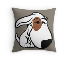 Soppy Bull Terrier White Coat Eye Patch Throw Pillow
