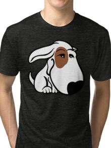 Soppy Bull Terrier White Coat Eye Patch Tri-blend T-Shirt