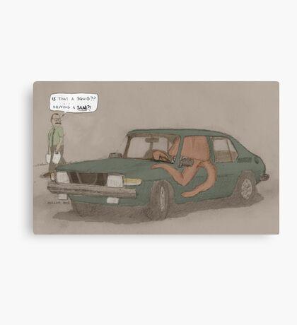 a squid in a Saab Canvas Print