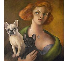 Woman with her French Bulldogs Photographic Print