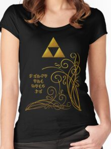 Triforce with Swirls - Hylian Text Women's Fitted Scoop T-Shirt