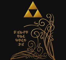 Triforce with Swirls - Hylian Text Womens Fitted T-Shirt