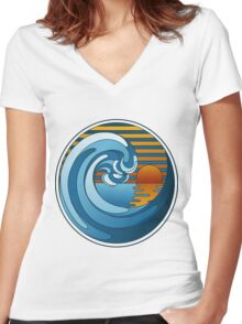 Circle Landscape Women's Fitted V-Neck T-Shirt
