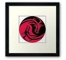 Red and Black dragons ying yang Framed Print