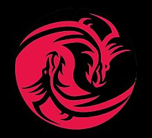 Red and Black dragons ying yang by Jxuky