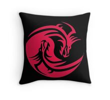 Red and Black dragons ying yang Throw Pillow