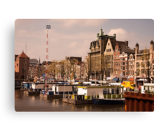 Line Up for an Amsterdam Canal Trip  Canvas Print