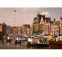 Line Up for an Amsterdam Canal Trip  Photographic Print