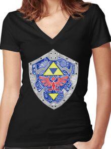 Zelda - Link Shield doodle Women's Fitted V-Neck T-Shirt