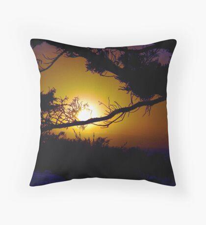 Golden Coastal Sunset Throw Pillow