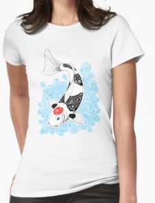 Fish koi Tancho Womens Fitted T-Shirt