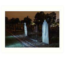 Moonlit Gravestones Art Print