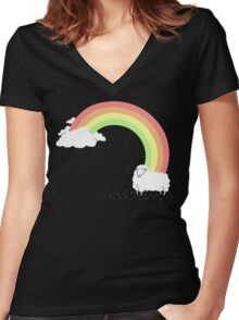 Rainbow Mistake Women's Fitted V-Neck T-Shirt