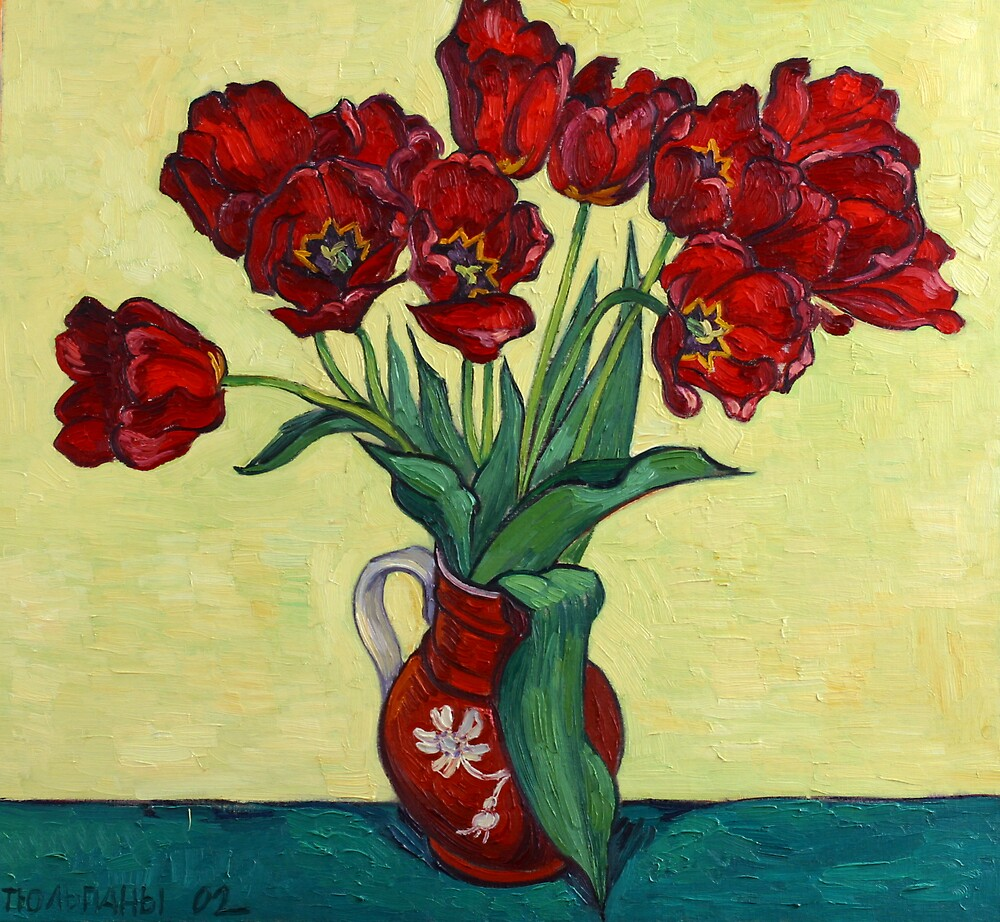 Red tulips in a red jug by Vitali Komarov