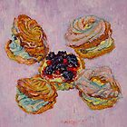 Cream puff pastries and fruit tart by Vitali Komarov