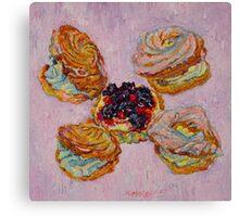 Cream puff pastries and fruit tart Canvas Print