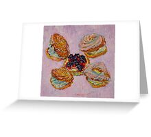 Cream puff pastries and fruit tart Greeting Card