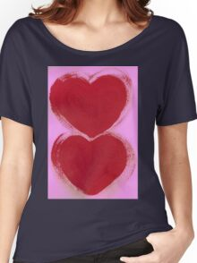 Double Hearts in Rouge Red on Pretty Pink Women's Relaxed Fit T-Shirt