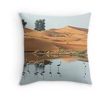 Sand Dune Flamingos Throw Pillow
