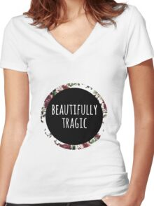 Beautifully Tragic Floral Women's Fitted V-Neck T-Shirt