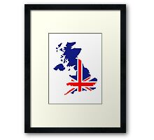 Great Britain UK map flag Framed Print