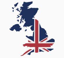 Great Britain UK map flag Kids Tee
