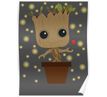 Groot with Rose/Fireflies Poster
