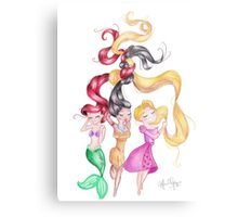 3 Princesses Drawings Metal Print
