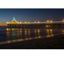 Christmas on Manhattan Beach Pier Photographic Print