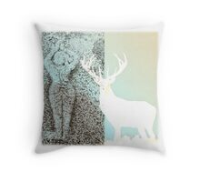 Gaia and the Stag - Blue Throw Pillow