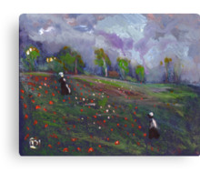 Poppies in a field Canvas Print