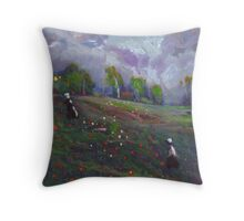 Poppies in a field Throw Pillow