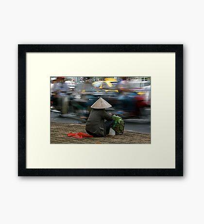 Roadside selling in Vietnam Framed Print
