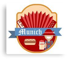 Munich Germany Retro Badge Canvas Print
