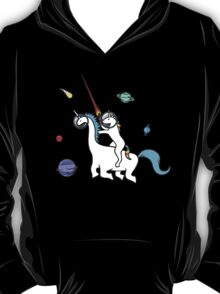Unicorn Riding Dinocorn In Space T-Shirt