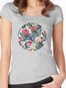 Painted Protea Pattern Women's Fitted Scoop T-Shirt
