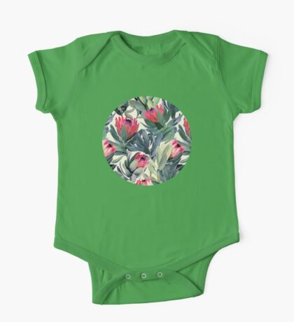 Painted Protea Pattern One Piece - Short Sleeve