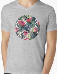 Painted Protea Pattern Mens V-Neck T-Shirt