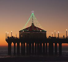 Southern California Pier Dressed Up For Christmas by Karol Franks