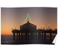 Southern California Pier Dressed Up For Christmas Poster