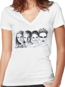 The Many Faces of Natalie Portman Women's Fitted V-Neck T-Shirt