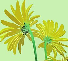 Soft Yellow and Green Flowers From Behind by Adri Turner