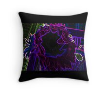 Neon Vibrant Purple Blue and Green Sun Flower Abstract Design Throw Pillow