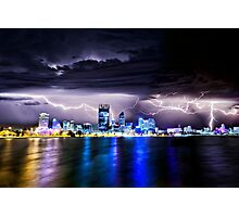 Perth Lightning Storm Photographic Print