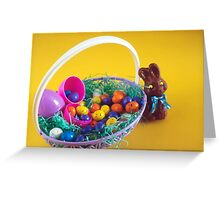 Chocolate Bunny & Easter Basket Greeting Card