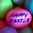 Dyed Easter Egg Background w/ Happy Easter Message by SteveOhlsen