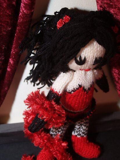 Kitty Serendipity - knitted burlesque doll series by Sayraphim