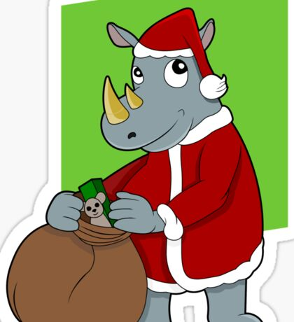 Christmas Rhinoceros  Sticker