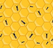 Honey bees at work in bee hive by rubina
