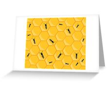 Honey bees at work in bee hive Greeting Card